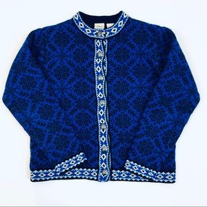 L.L. Bean Nordic Blue Cardigan Sweater Size Small